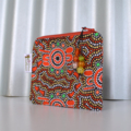 Small  zippered pouch coin purse. orange green brown aboriginal dot painting,
