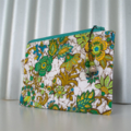 zippered pouch pencil case Stunning green white and blue cotton fabric