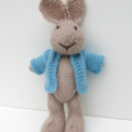 Riley the  Hand Knitted Bunny Rabbit Toy with Blue Jacket