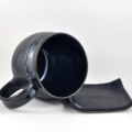 Coffee Mug and Coaster Set Ceramic Handmade Pottery Cup Black