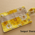 Yellow Retro Print Tea Wallet - Holds 4 Teas - Retro Pattern with Grey Pocket