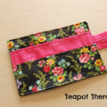 Black Floral Tea Wallet - Holds 4 Teas - flower pattern with pink pocket