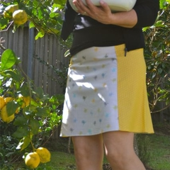 Honeybees and honeycomb A line skirt.