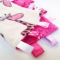 ** FREE POST ** PINK GIRAFFE Baby Security Blanket Blankie Taggie Toy