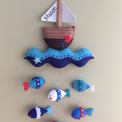 Nautical Mobile, Nursery, Baby Gift, Kids Room Decor, Wall Decor