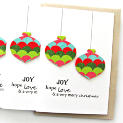 FREE POST | 4 Christmas cards | Paper Baubles Geometric