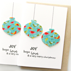 FREE POST | 4 Christmas cards | Paper Baubles Bright Birds
