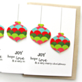 Christmas Card | FREE POST | Handmade | Baubles Poinsettia and Holly