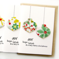 6 Handmade Christmas Cards, Joy Hope Love, Poinsettia and Holly Paper Baubles