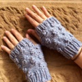 Bauble Fingerless Mittens in Soft Blue