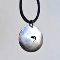 Hand Stamped Memory Keepsake Leather Hanging Pendant Locket Keepsake Necklace