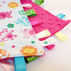 FREE POST * PINK JUNGLE SAFARI Baby Security Blanket Taggie /Taggy Toy Comforter
