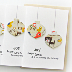 4 Christmas cards paper baubles bulk teacher