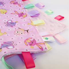 PINK NURSERY BABY TOYS Security Blanket Blankie Taggie Toy +FREE Taggie Saver