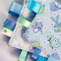 BLUE NURSERY BABY TOYS Security Blanket Blankie Taggie Toy +FREE Taggie Saver