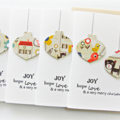 FREE POST | 4 Christmas cards | Cat & Bird Bauble Cards