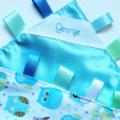 BLUE HAPPY OWLS -  Baby Security Blanket Blankie Taggie Toy