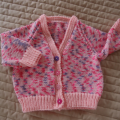 Size 1 Hand knitted cardigan in pinks & purple: OOAK, Washable, Acrylic