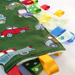 GREEN VINTAGE CARS Security Blanket Taggie Toy+ Dummy/Sophie/Taggie Saver