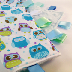 BLUE HAPPY OWLS -  Baby Security Blanket Blankie Taggie Toy