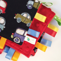 NAVY VINTAGE CARS Security Blanket Blankie Taggie Toy+ Dummy/Sophie/Taggie Saver