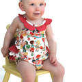 """Girls Baby """"Darling"""" Red Playsuit with ruffles"""
