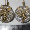 Retro Bronze tone fairy on silver glitter in Resin