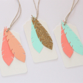Feather Gift Tag - Set of 3 Blush Pink, Peach, Gold Glitter and Turquoise