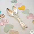 Hand stamped vintage teaspoon pair - good morning handsome gorgeous