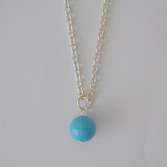 Pearl Drop Necklace, Turquoise, light blue color Pearl
