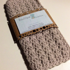 Crochet Face Cloth, Cotton in Latte