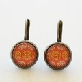 Yellow and Orange Circle Silver Earrings