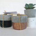 Trio - Concrete Succulent Planter + Two Tealight Candle Holders - Urban Decor