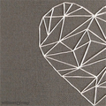 Geometric Heart - a hand-stitched artwork
