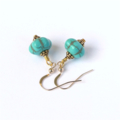 Turquoise and Gold Drop Earrings with melon shaped gemstone beads