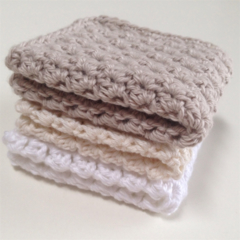 Crochet Face Cloth, Cotton set of 3