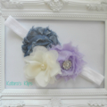 Denim and lavender chiffon stretch headband