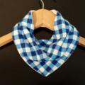 BLUE GINGHAM Organic and Cotton 3-Layered bandana bib with Stay-dry backing