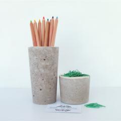 Concrete Duo - Pencil Holder & Paperclip Holder Set - Urban Decor
