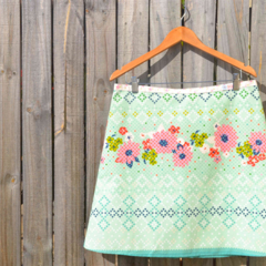 Cross stitch floral print A line skirt