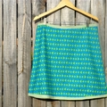 Turquoise & green A line skirt with binding around waist & hem