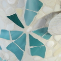At the Beach... Décor piece /vase in mosaic cream/turquoise