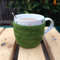 Coffee dressed as a green smoothie. Bamboo mug sweater / cosy