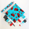 CUSTOM ORDER FOR ANDREA - EMROIDERED LADYBUGS TAGGIE BLANKIE