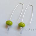 Argentium Sterling Silver range - avocado green glass bead earrings