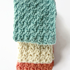 Three crochet washcloths adult newborn baby shower gift  cotton spa cloth