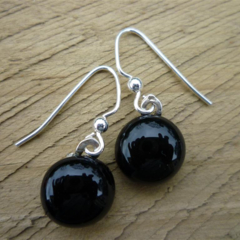Fused Glass Danglies Earrings ~ Black ~ Sterling Silver