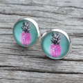 Glass dome stud earrings - Pineapples
