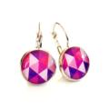 Leverback earrings - Purple & pink geo triangles - Resin