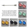 Glass dome stud earrings - arrow / yellow
